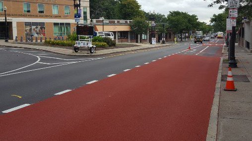 New bus/bike lane in Roslindale