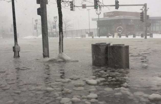 Seaport Boulevard flooded in South Boston