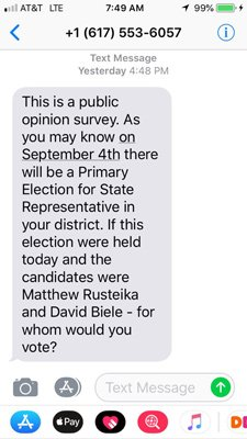 Who sent out this text poll?