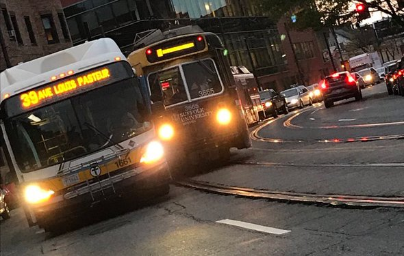 Trolley and bus collide on South Huntington Avenue