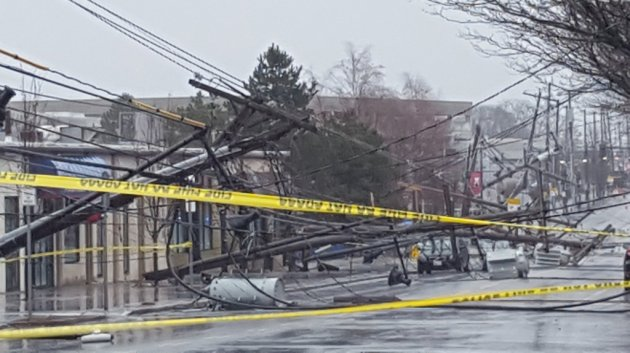 Downed power lines on Arsenal Street in Watertown