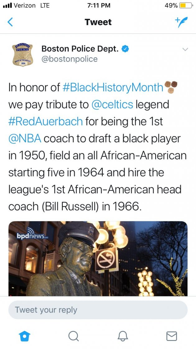 Honoring Red Auerbach for his role in hiring black players for Black History Month