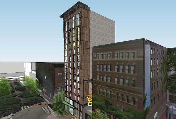 Architect's rendering of proposed 104 Canal St. hotel