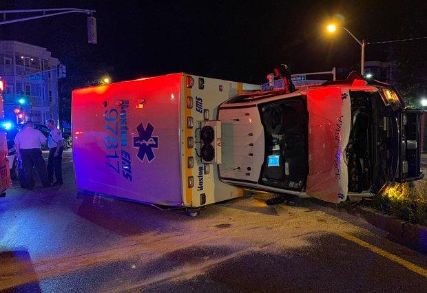 Ambulance on its side after crash
