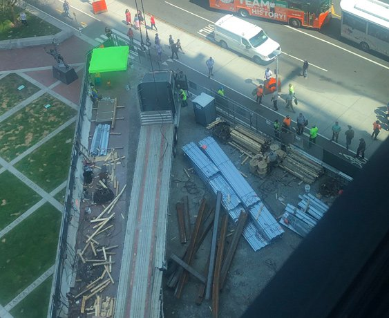 Looking down at the steel beams that fell from a crane at Hub on Causeway at the Garden