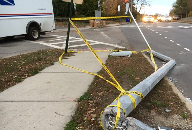 Downed pole at Centre Street and Louders Lane