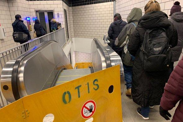 Broken escalator at North Station