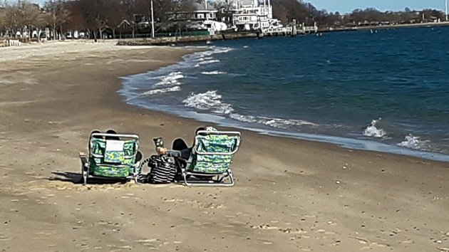 People breaking out the beach chairs in South Boston