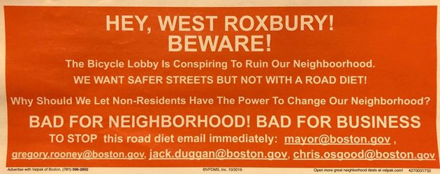 Part of a mailer that alleges the Bicycle Lobby is out to destroy West Roxbury