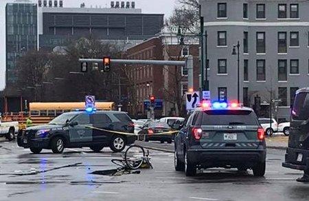 Fenway crash scene, showing bicycle.