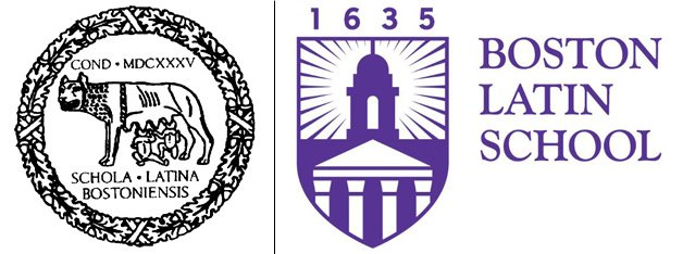 Old and new Boston Latin School logos