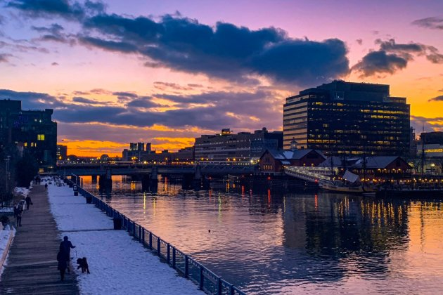 Sunset over Fort Point Channel