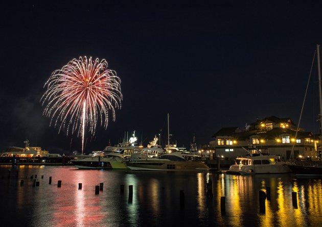 Fireworks over Boston Harbor