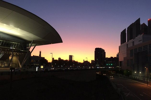 Sunset over downtown from near the South Boston convention center