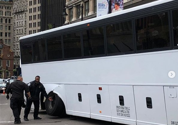 Bus with busted wheel