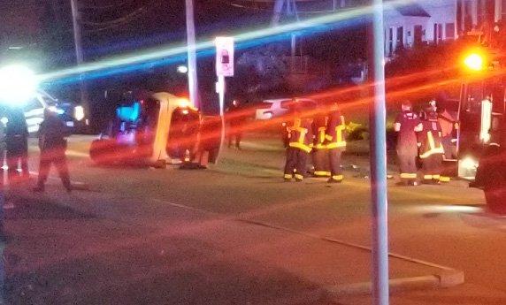 Flipped car in Roslindale