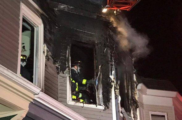 Firefighter at Catawba Street fire