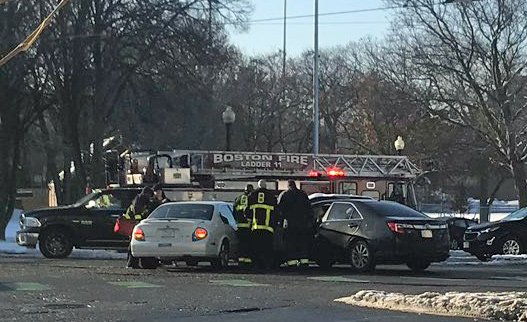 Two-car crash in Cleveland Circle