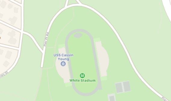 Apple Map showing a retired Navy destroyer in Franklin Park