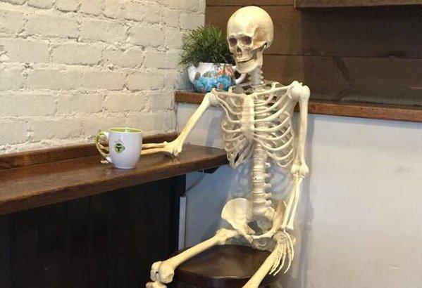 Dead tired coffee drinker in Roslindale