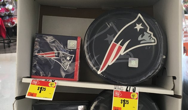Half off on Patriots stuff at one supermarket