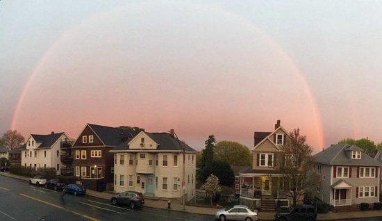 Rainbow over Centre Street in West Roxbury
