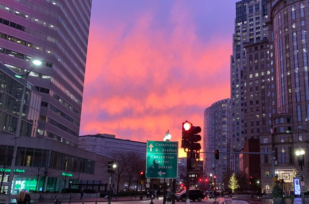Sunset over Dewey Square downtown