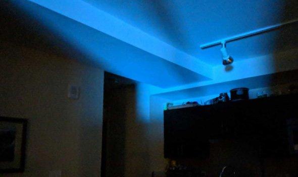Blue glow from W