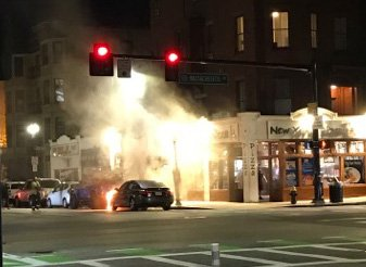Flaming car on Columbus Avenue