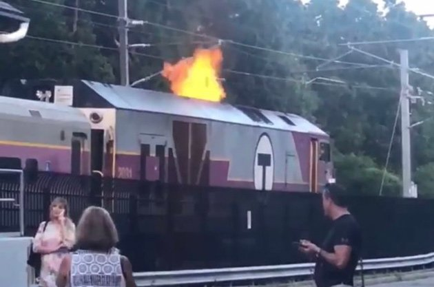 Flames from Providence Line locomotive