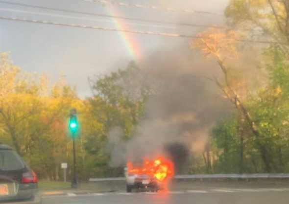 SUV on fire in West Roxbury