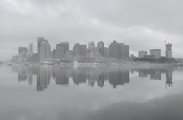 Downtown Boston in the fog