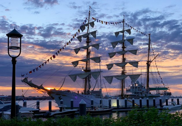 Colombian tall ship ARC Gloria at Fan Pier in Boston Harbor