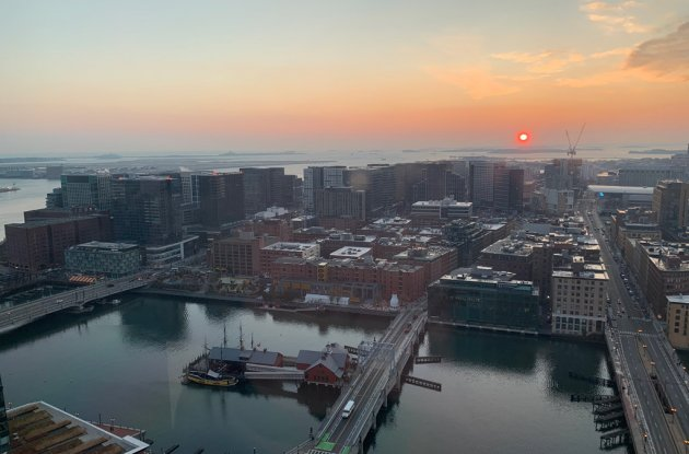 Sunrise over the South Boston Waterfront and Fort Point Channel