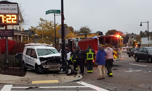 Van crash on Centre Street in West Roxbury