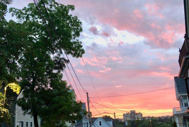 Post-rain sunset over Jamaica Plain