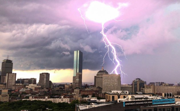 Lightning hits Boston