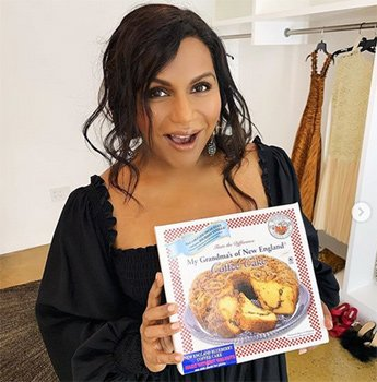 Mindy Kaling with some My Grandma's of New England coffee cake
