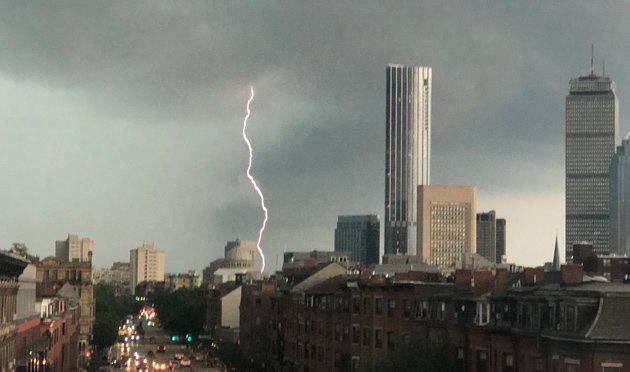 Lightning hits Back Bay