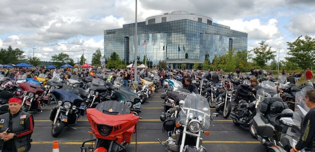 A lot of motorcycles in Framingham