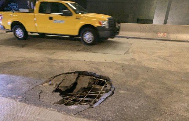 Giant pothole in Pru tunnel