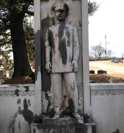 Vandalized memorial at Mt. Hope Cemetery in Mattapan