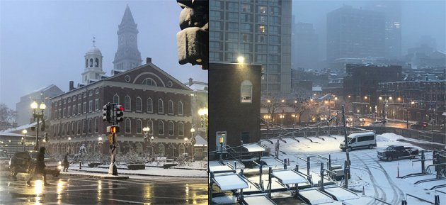 Snowy morning in downtown Boston