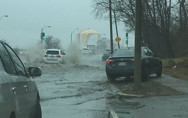 Morrissey Boulevard early this afternoon at high tide