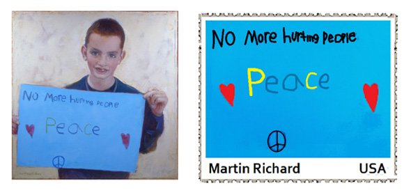 Proposed stamp that would read: No more hurting people - Peace