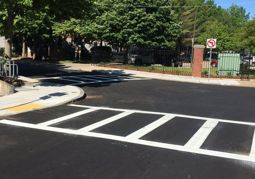 Newly striped crosswalks at Orchard Park Street and Dubois Street