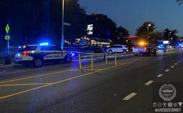 Crime scene on Washington Street in Roslindale