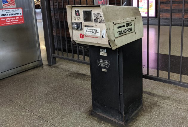 Old bus transfer dispenser at Back Bay station