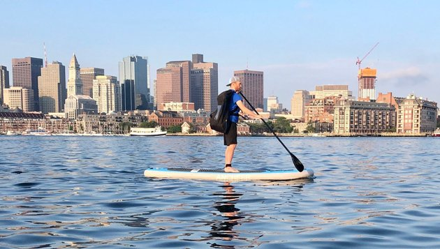 Paddling across Boston Harbor