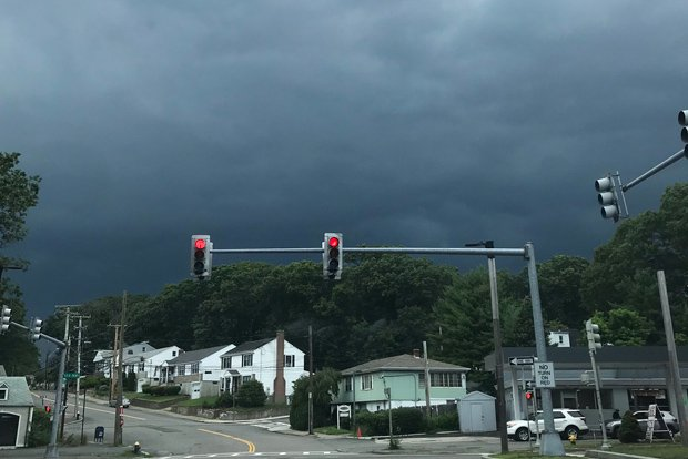 Clouds over VFW Parkway in West Roxbury